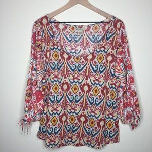 Lucky Brand | Boho 3/4 Sleeve Top Size Large